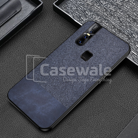 Dual Color Leather + Natural Cloth Texture Case For Vivo V15