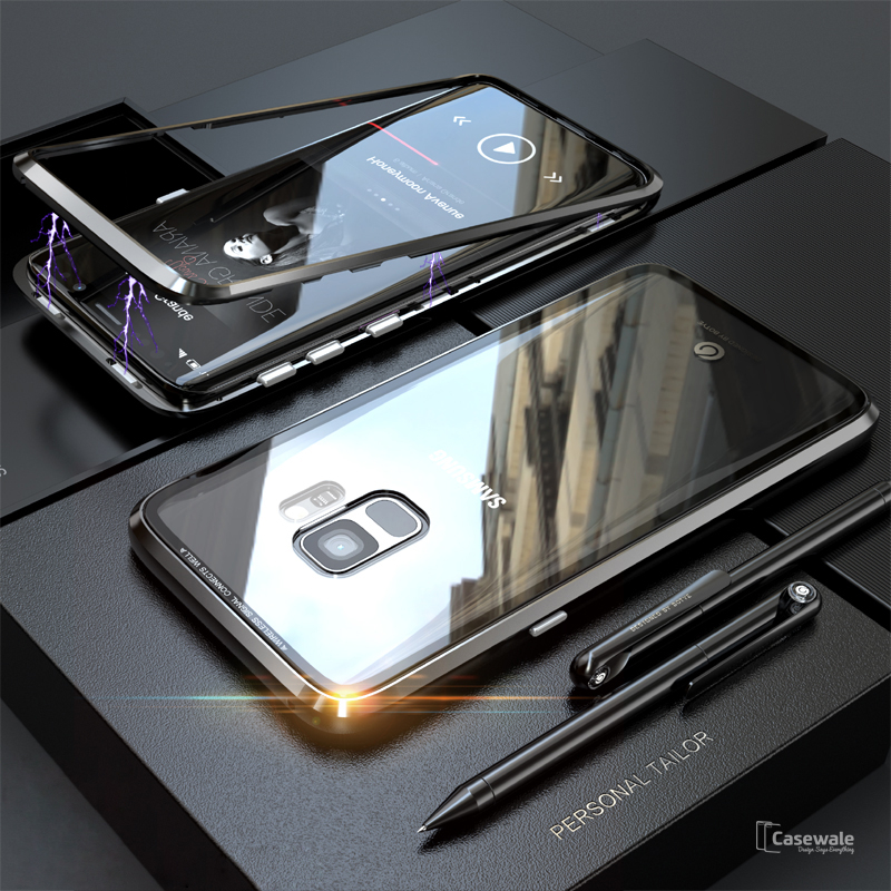 buy popular c6b14 f5b40 Electronic Auto-Fit Magnetic Glass Case for Galaxy S9/ S9 Plus