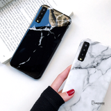 Textured Marble Tempered Glass Case for Galaxy A7 2018