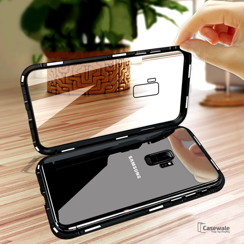best sneakers 29148 50722 Electronic Auto-Fit Magnetic Glass Case for Galaxy A6 Plus