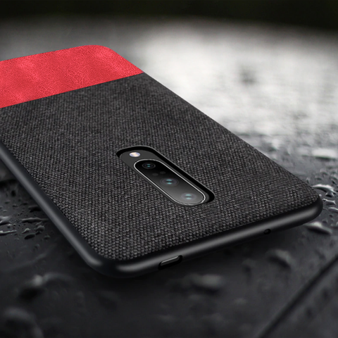 Dual Color Leather + Natural Cloth Texture Case For OnePlus 7 Pro