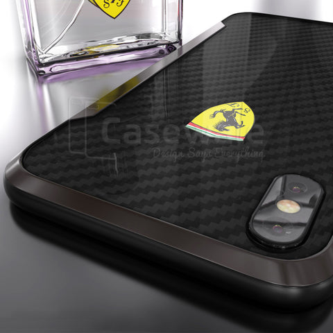 Ferrari Track Racing Shield Carbon Effect Case for iPhone X
