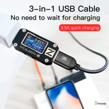 Baseus 3 in 1 Micro USB Type C Charger Cable for iPhone Samsung