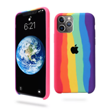 iPhone Series Rainbow Silicone Apple Logo Case (Free OTG+ USB Cable + Earphone Bag)