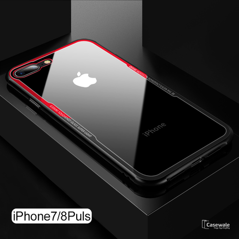 Original Black & Red Tempered Glass Case For iPhone 7/8, 7/8 Plus