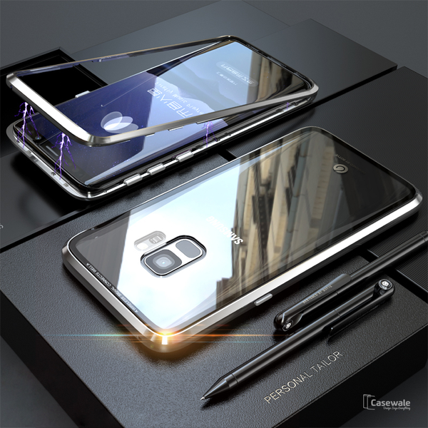 new arrival f56e3 2230b Electronic Magnetic Auto-Fit Glass Case for Galaxy A8 Plus
