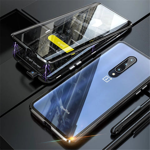 Electronic Auto-Fit Double Magnetic Case for OnePlus 7/ 7T / 7T Pro