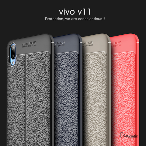 Luxury Auto Focus Leather Texture Case For Vivo V11 Pro