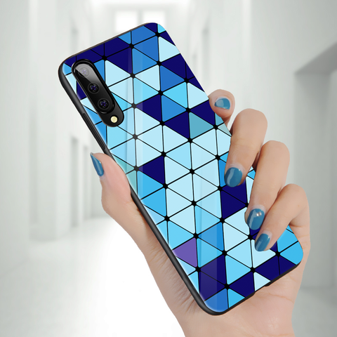 Spheres Blue Marble Pattern Glass Case for Galaxy A7 2018
