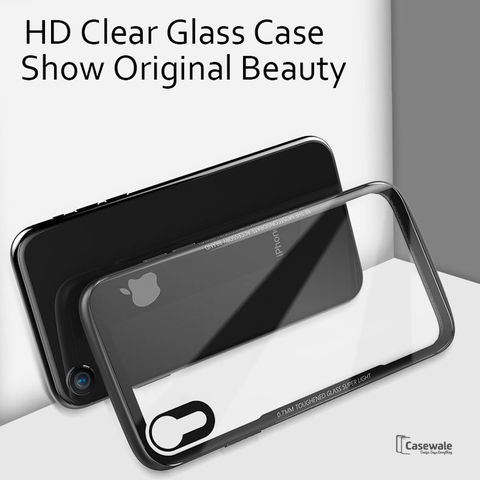 Luxury Transparent Glass Case For iPhone XR
