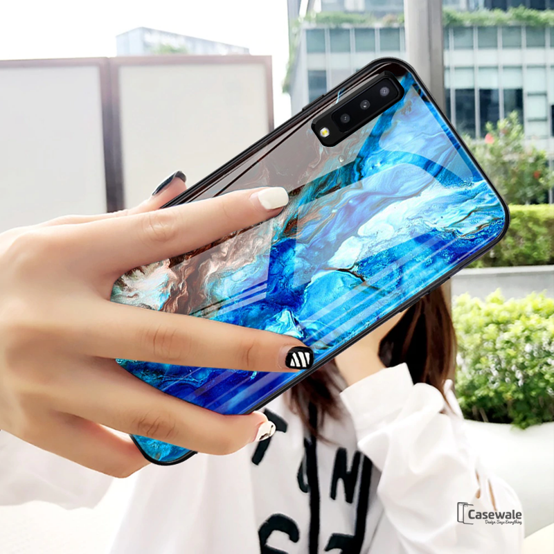 Luxury Sea Pattern Marble Glass Case for Galaxy A7 2018
