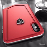 Ferrari Aluminium V Stripe Genuine Leather Case for iPhone X