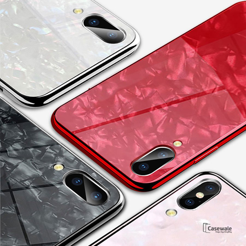 Luxury Textured Marble Pattern Tempered Glass Case