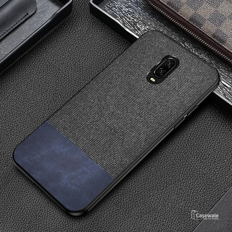 Dual Color Leather + Natural Cloth Texture Case For OnePlus 6T
