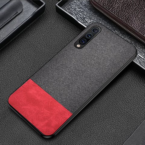 Dual Color Leather + Natural Cloth Texture Case For Galaxy A7 2018