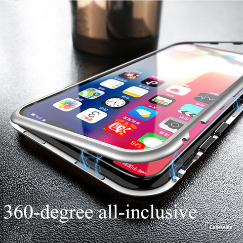 Electronic Auto-Fit Magnetic Glass Case iPhone 6, 7, 8