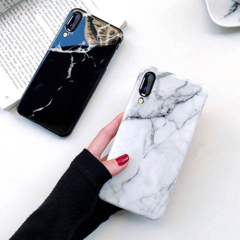 Textured Marble Tempered Glass Protective Case