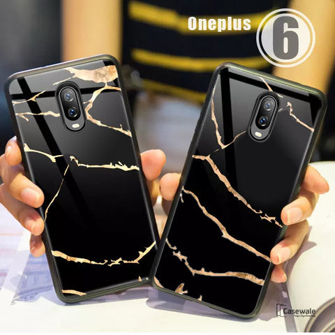 Golden Lighting Tempered Glass Case for OnePlus 6T