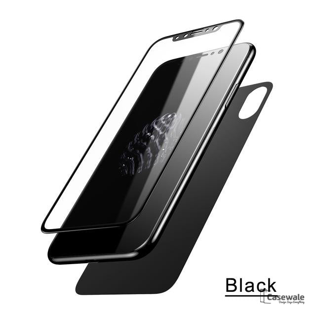 separation shoes e2ec8 b879e iPhone X 5D Round Curved Edge Tempered Glass Front+Back Protector