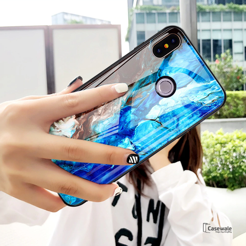 Luxury Sea Pattern Glass Case for Redmi Note 6 Pro
