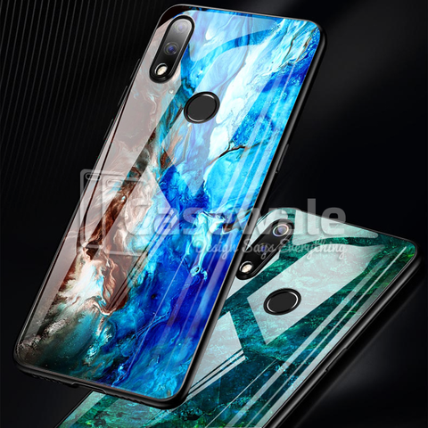Luxury Artistic Marble Glass Case for Oppo Realme 3 Pro