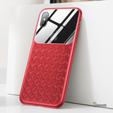 Baseus Tempered Glass Grid Weaving Pattern Case For iPhone XS