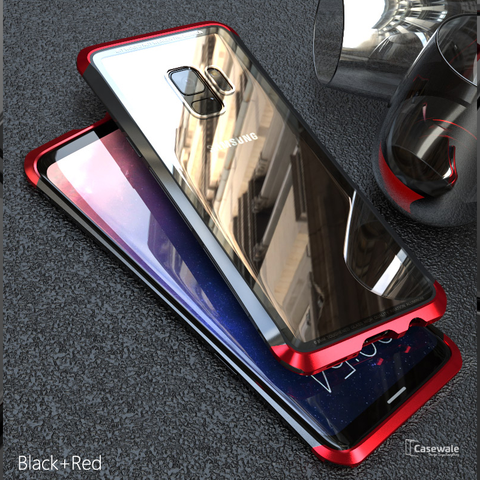 Luxury Metal Aluminum Tempered Glass Case for Galaxy S9/ S9 Plus