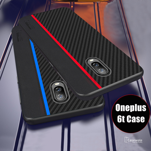 Original CENMASO Carbon Fiber PU Leather Case For OnePlus 6 / 6T