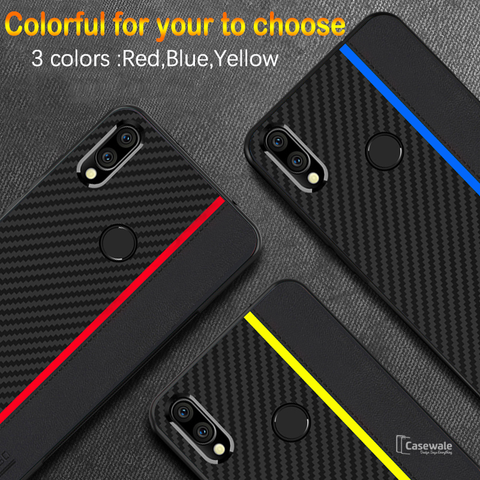 Original CENMASO Carbon Fiber PU Leather Case For Redmi Note 7 & Note 7 Pro