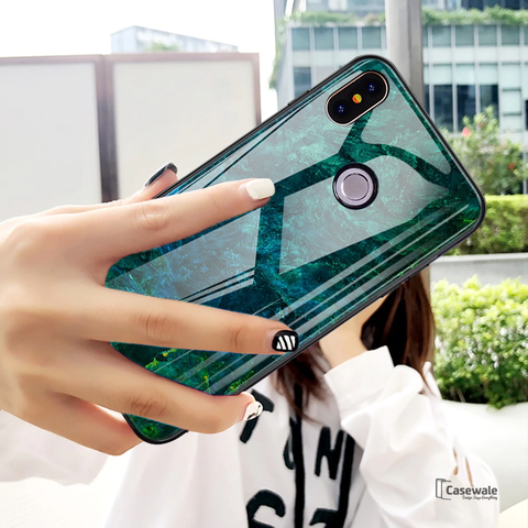 Luxury Aqua Green Pattern Glass Case for Redmi Note 6 Pro