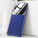 Baseus Tempered Glass Grid Weaving Pattern Case For iPhone X
