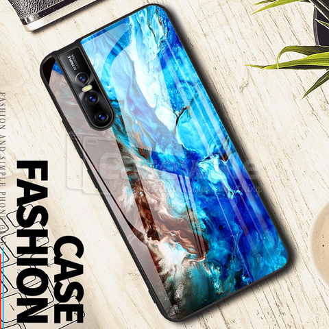 Luxury Artistic Marble Glass Case for Vivo V15 Pro
