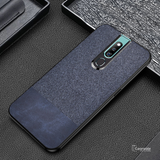 Dual Color Leather + Natural Cloth Texture Case For Oppo F11 Pro