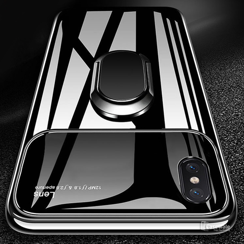 Mirror Effect Ring Bracket Lens Case for iPhone XS Max