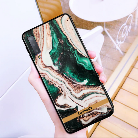 Glossy Agate Luxury Marble Case for Galaxy A7 2018
