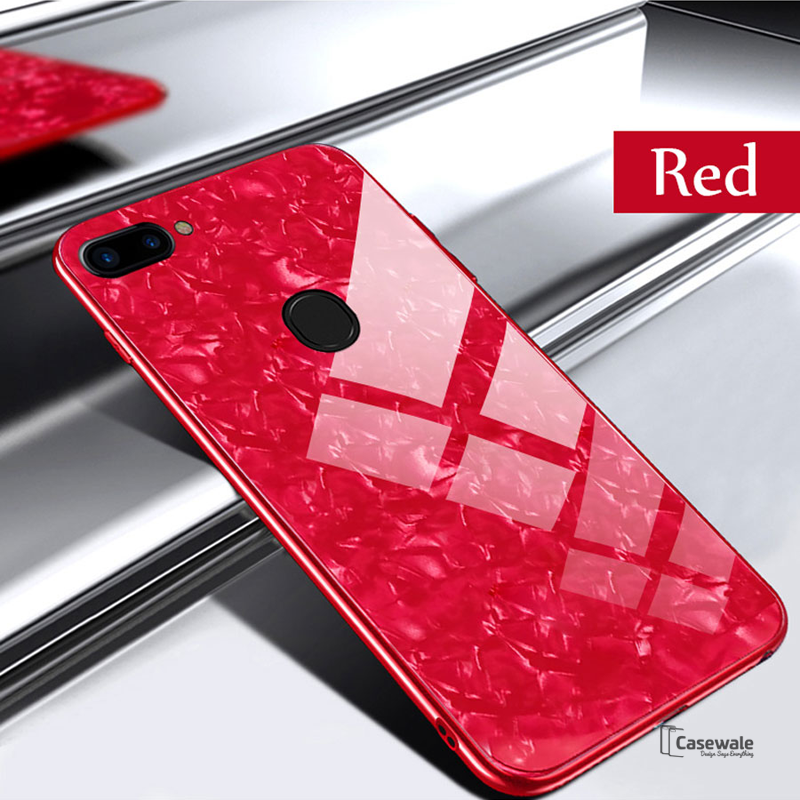 watch db47a 00b91 Luxury Marble Pattern Tempered Glass Case for Oppo F9 Pro