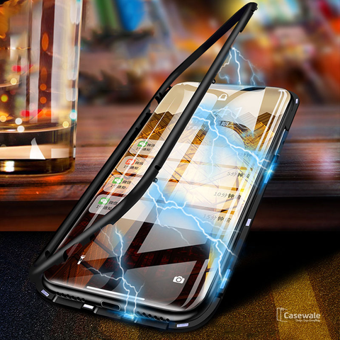 Electronic Auto-Fit Magnetic Glass Case for iPhone XS