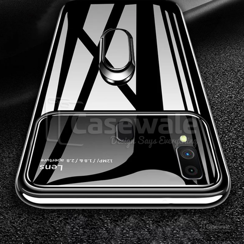 Luxury Mirror Effect Ring Bracket Case for Galaxy A30