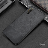 Dual Color Leather + Natural Cloth Texture Case For Vivo V11 Pro