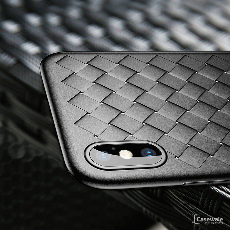 low priced 0c3fb 141ce iPhone X Luxury Grid Weaving Ultra Thin Soft TPU Protective Back Case
