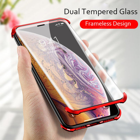 Frameless Magnetic Double Sided Glass Case for iPhone X / XS