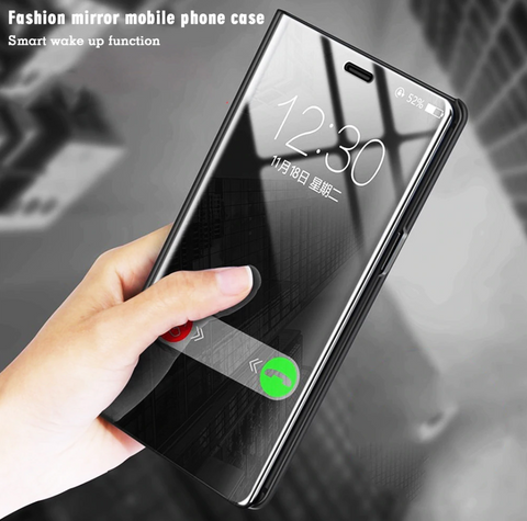 Mirror Clear View Flip Phone Case for Galaxy A70 [Non-Sensor]
