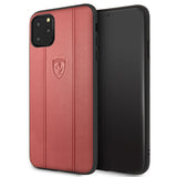 Ferrari Off Track Leather Hard Case with Embossed Lines for iPhone 11 Series