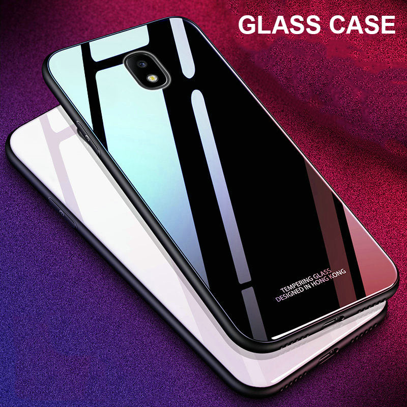 new concept 37d3f 8f553 9H Luxury Tempered Glass Protective Case for Galaxy J7 Pro