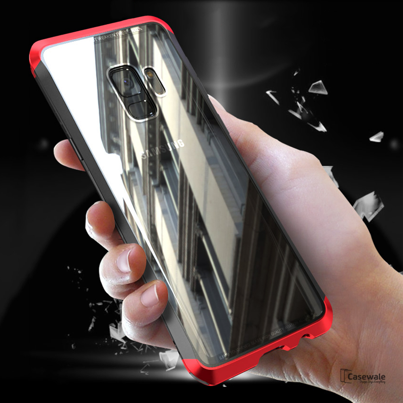 separation shoes 77153 28ba7 Luxury Metal Aluminum Tempered Glass Case for Galaxy S9/ S9 Plus