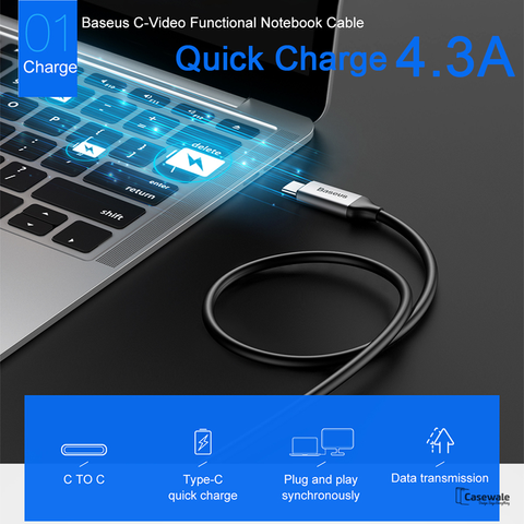 Baseus 86W USB Type C 4.3A Quick Charging Cable For iPhone