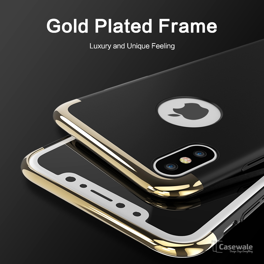best website f3d8e 9834d Luxury 3 in 1 Gold Plating Matte Case for iPhone X