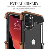 Luxury Metal Aluminum Wood Protective Bumper Case for iPhone 11 Series