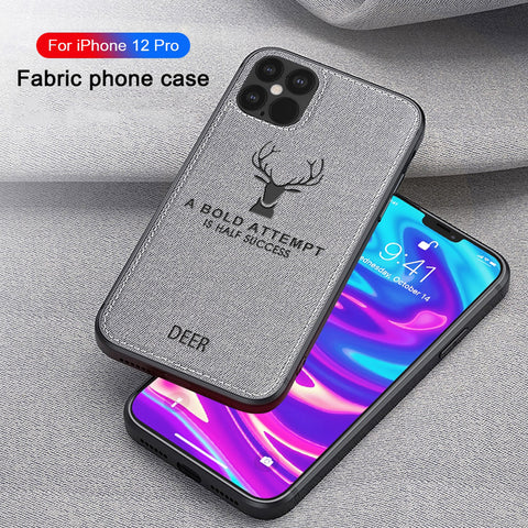 Deer Pattern Shockproof Cloth Case for iPhone 12 Series