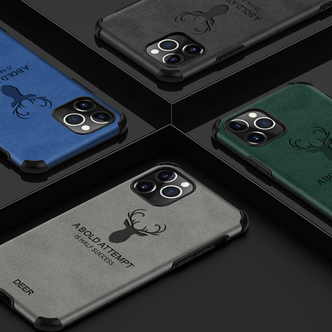 Deer Pattern Leather Shockproof Bumper Case for iPhone 12 Series
